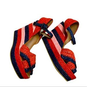 Zara Collection Blue and Red Platform Wedges